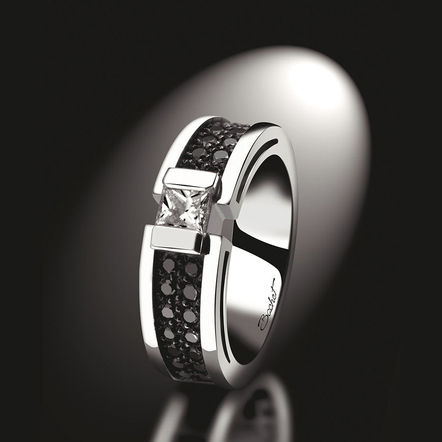 Maison Bachet Engagement Ring 'BlackLight Shade', White Gold, Medium model Women's Collection