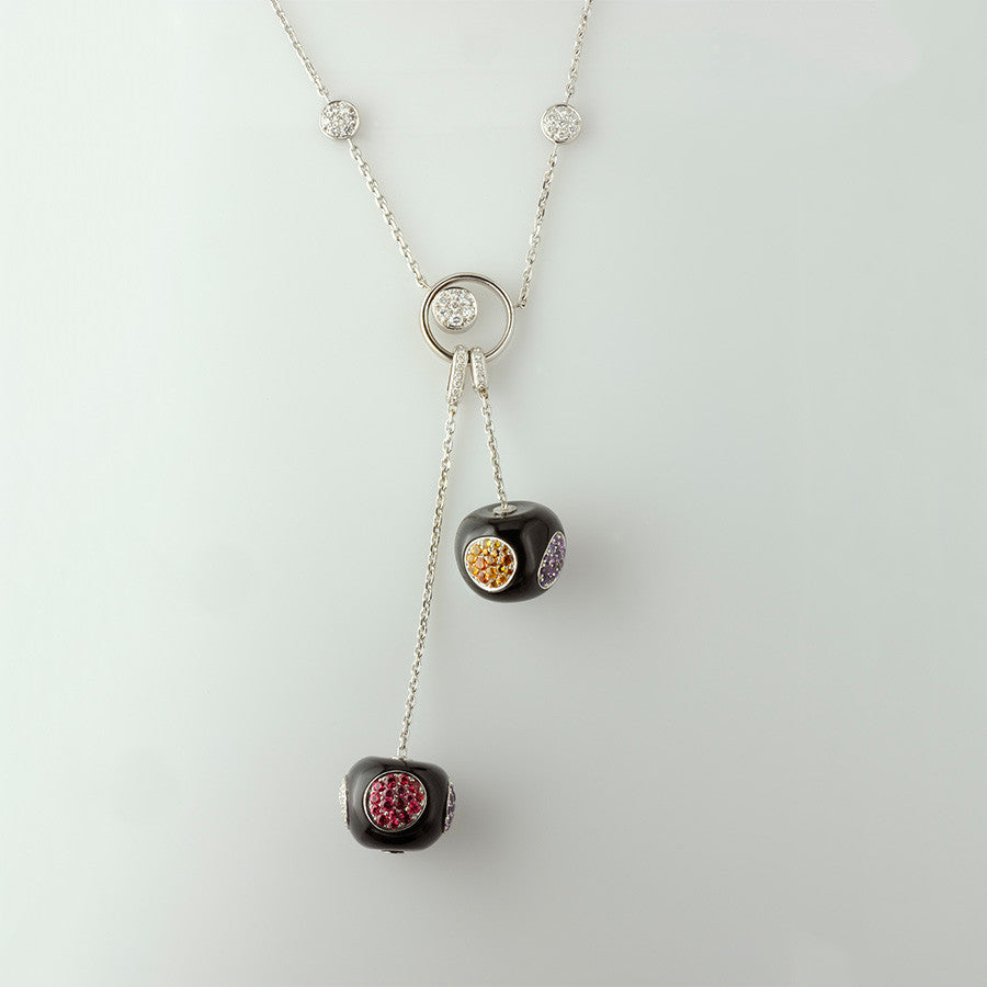White Gold, Onyx, Sapphire, Spessartite & Spinel Necklace from the Cherry Collection