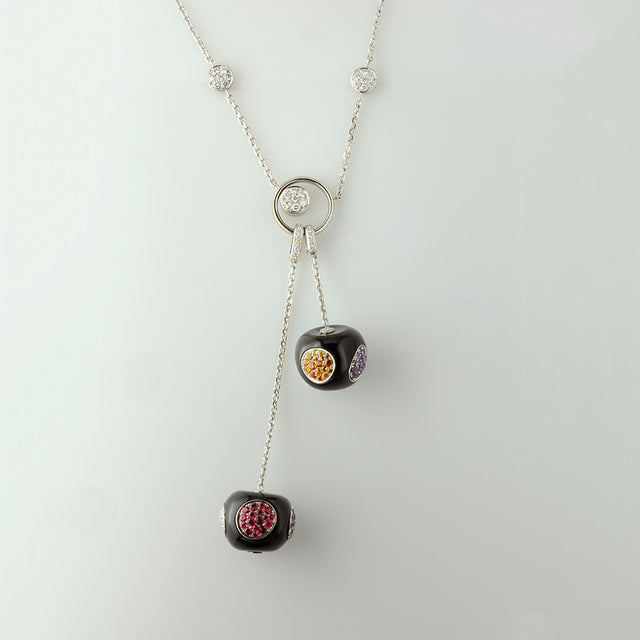 Cherry Collection Onyx, Sapphire, Spessartite & Spinel Necklace