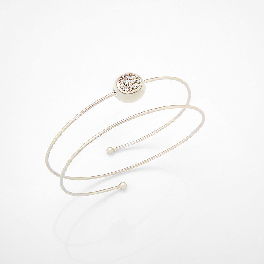 Mini Galet Collection Cacholong & Diamond Bracelet #ALACARTEBRIDAL