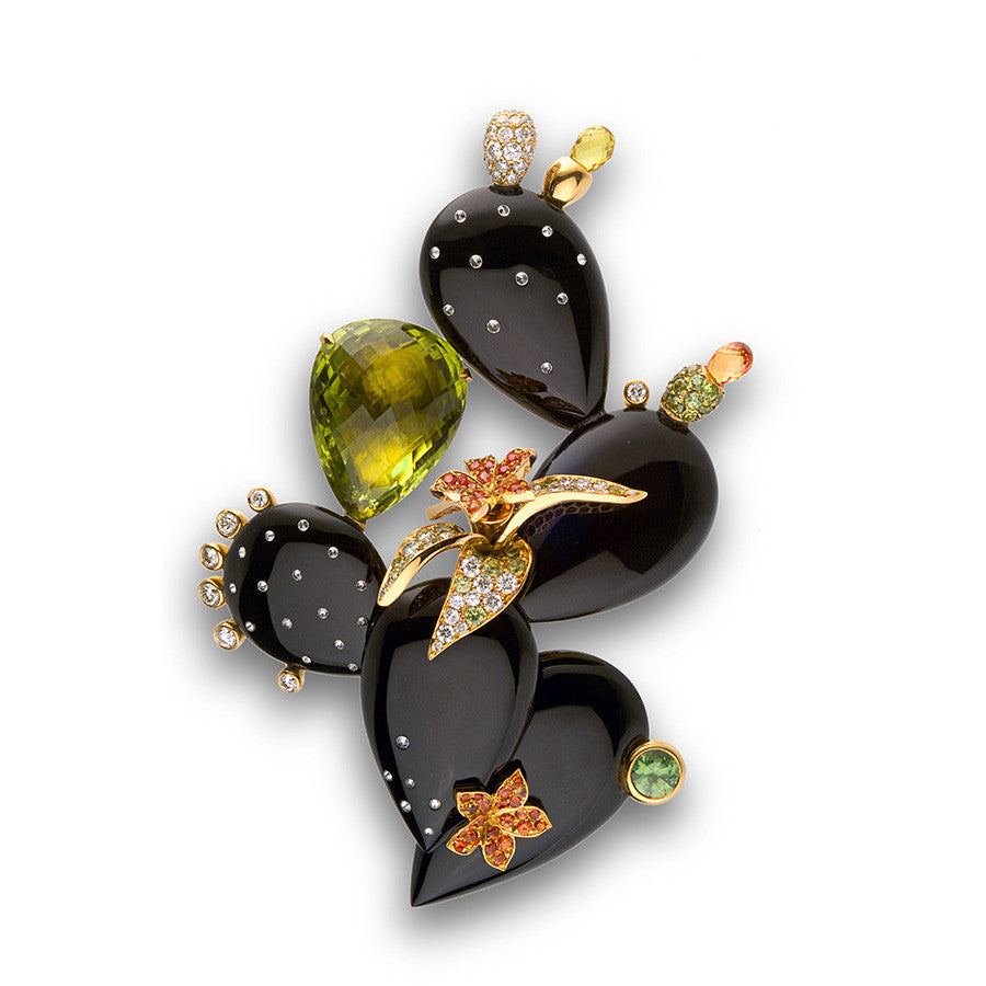 Cactus Brooch Onyx and Multi-color Gems ONE of a KIND