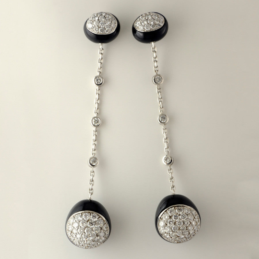 Galet Collection Onyx & Diamond  Earrings - GERARDRIVERON