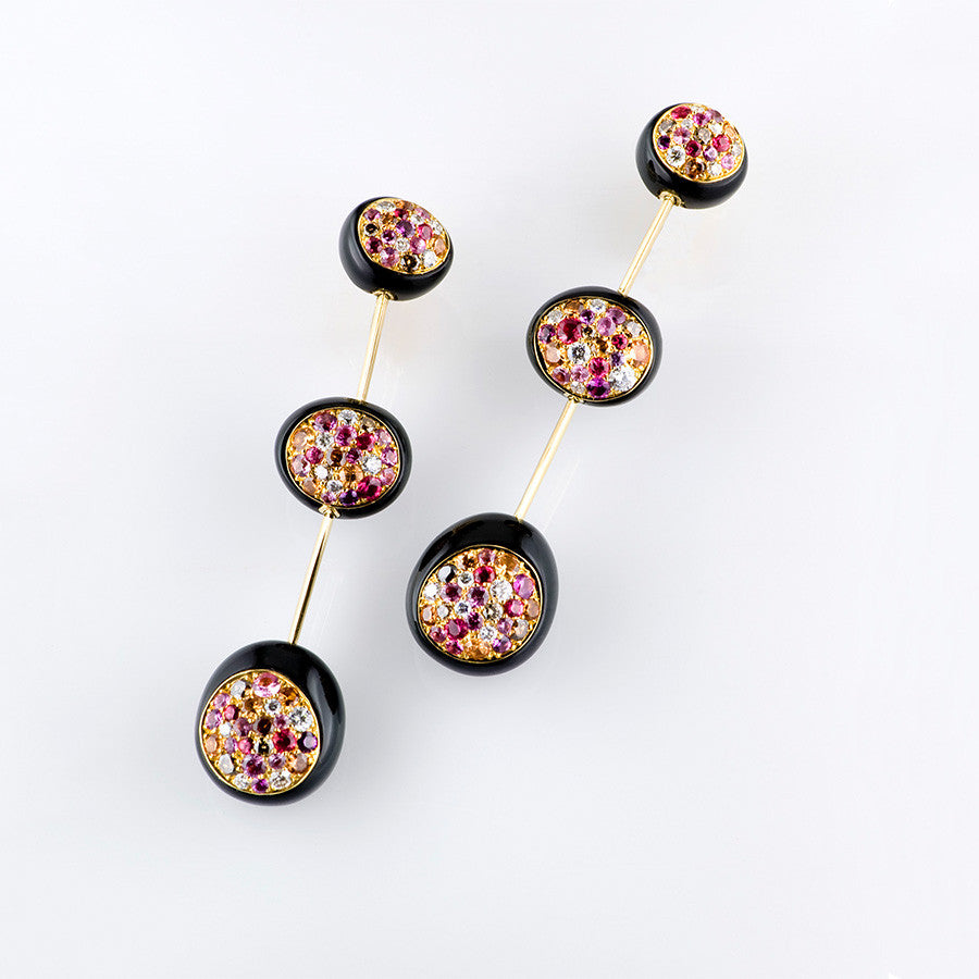 Galet Collection Onyx & Multi-color Gems Earrings - GERARDRIVERON