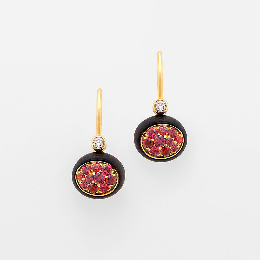 Mini Galet Collection Ebony, Orange Sapphire & Diamond Earrings