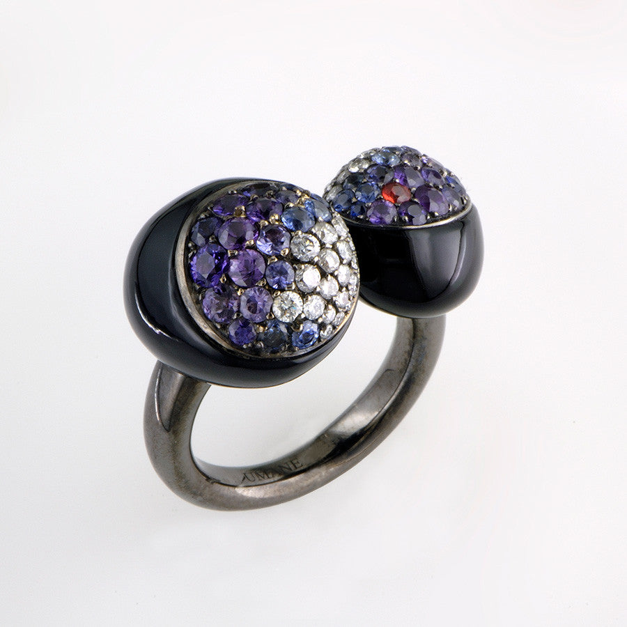Blackened White Gold, Onyx, Fancy Sapphire & Diamond Ring from the Galet Collection