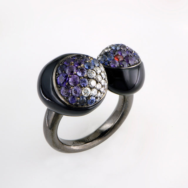 GMPM Galet Collection Onyx, Fancy Sapphire & Diamond Ring