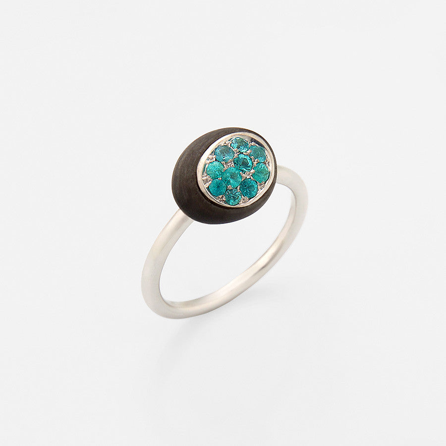 Mini Galet Collection Obsidian & Paraibas Tourmaline Ring