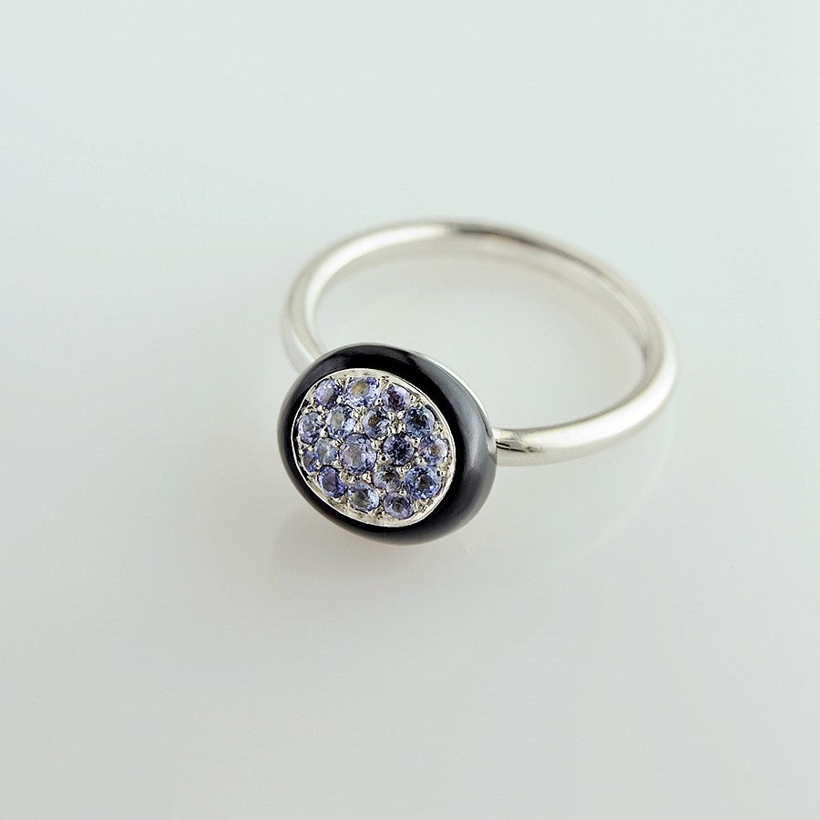 Mini Galet Collection Onyx & Purple Sappire Ring - GERARDRIVERON