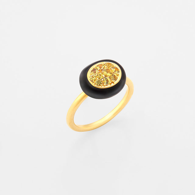 Mini Galet Collection Smoky Quartz & Yellow Sapphire Ring