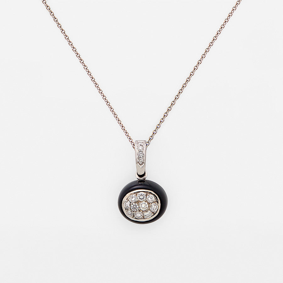 White Gold, Onyx & Diamond Pendant from the Mini Galet Collection