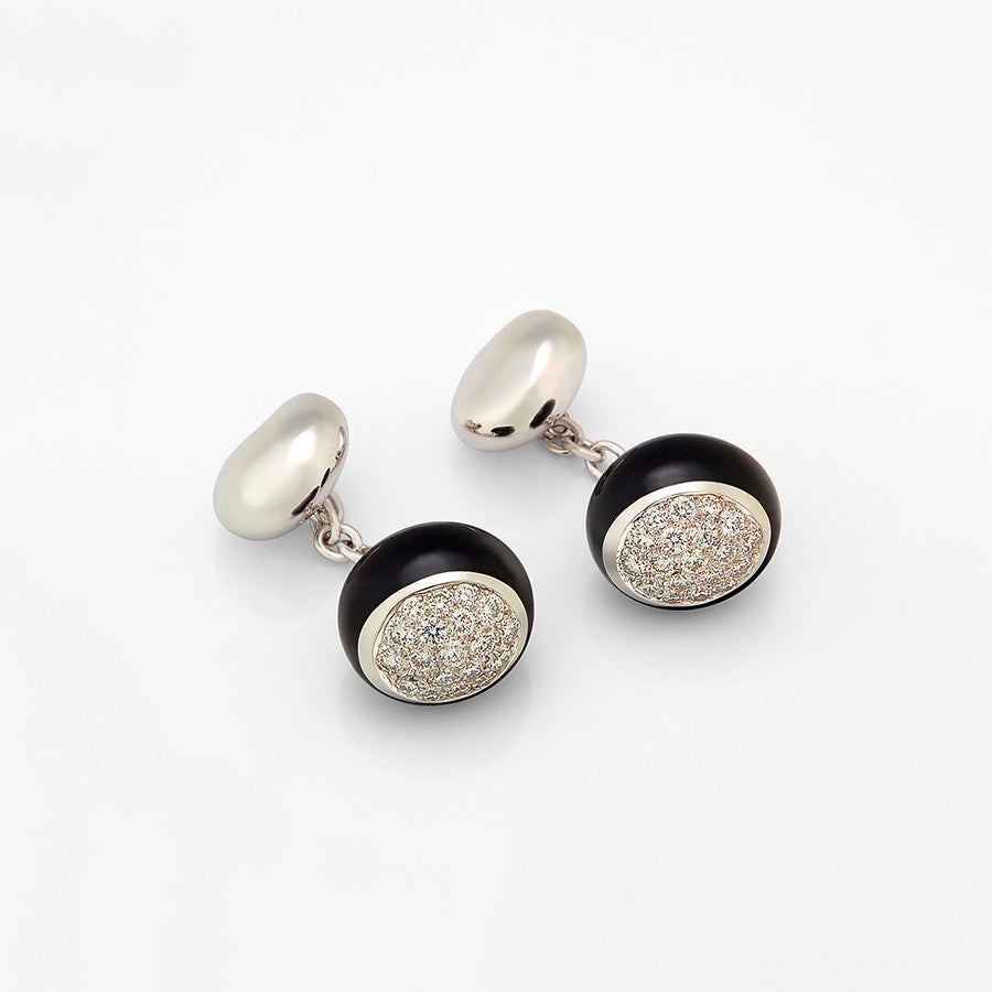 White Gold, Onyx & Diamond Cufflinks from the Galet Collection