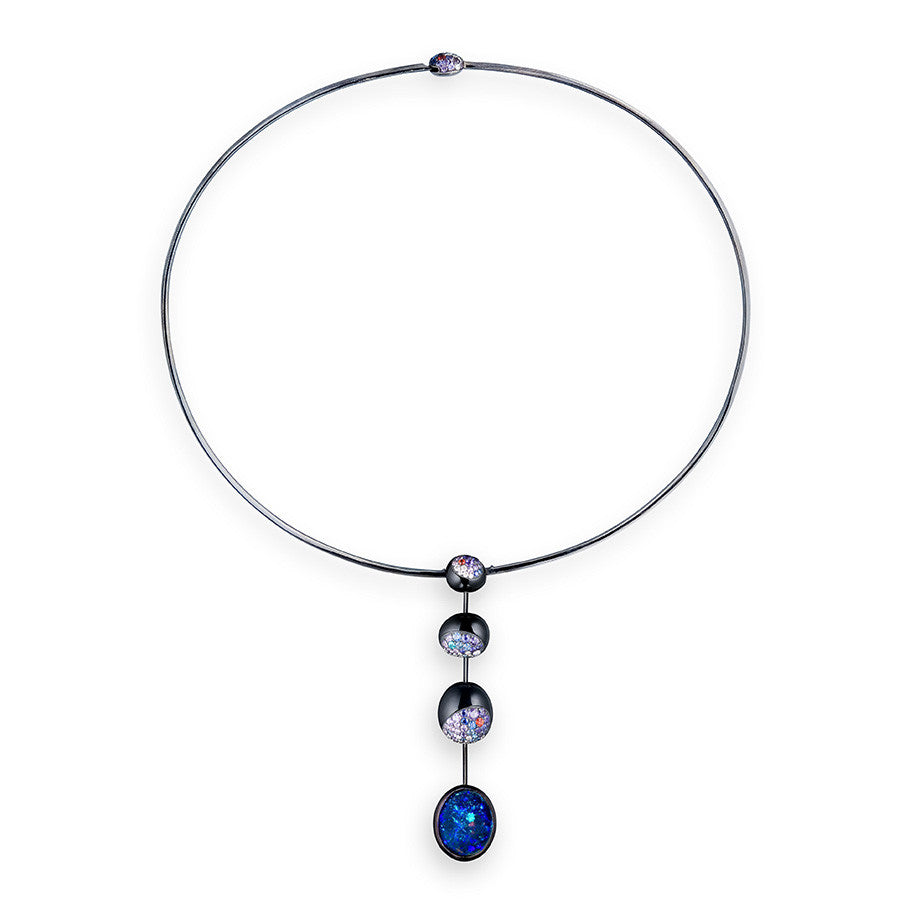 Blackened White Gold, Diamond, Fancy Sapphire & Diamond Necklace from the Galet Collection