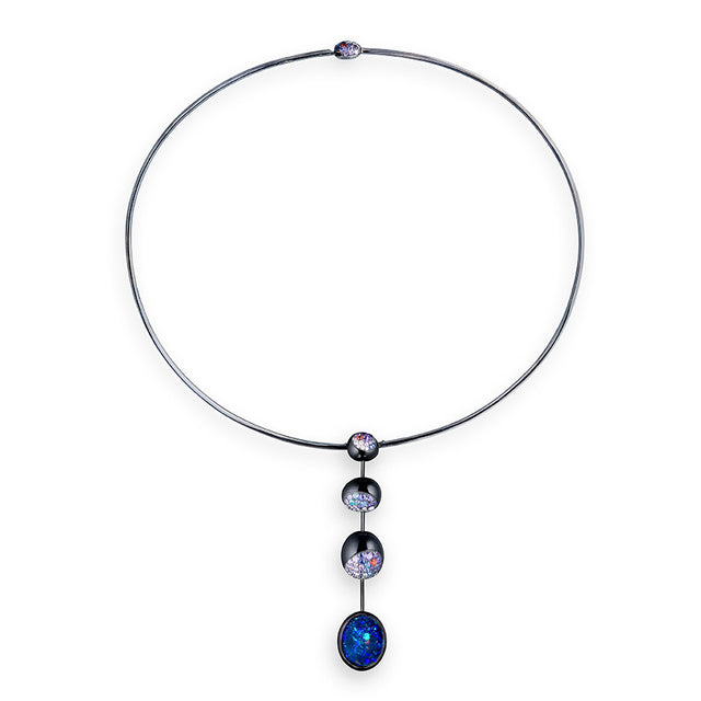 Galet Collection Fancy Sapphires & Diamonds Necklace 4 motifs