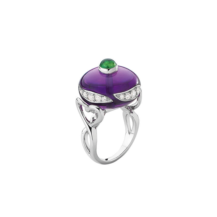 White Gold, Amethyst, Tsavorite & Diamond Ring from the Toupie Collection