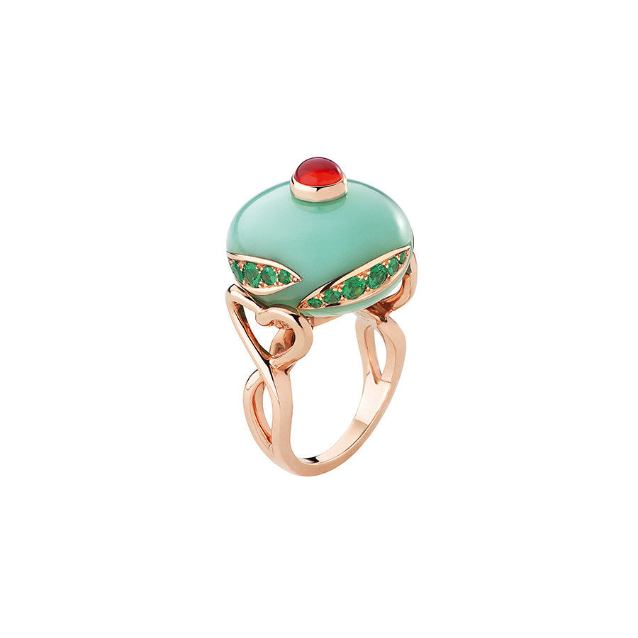 Pink Gold, Chrisoprase, Tsavorite, Opale Ring from the Toupie Collection