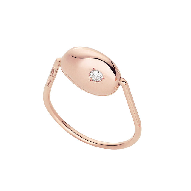 Gold Pebble Collection Pink Gold & Diamond Ring