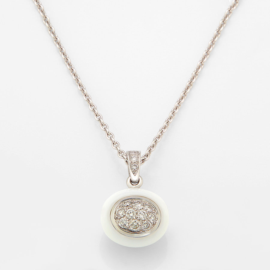 White Gold, Cacholong & Diamond Pendant from the Mini Galet Collection