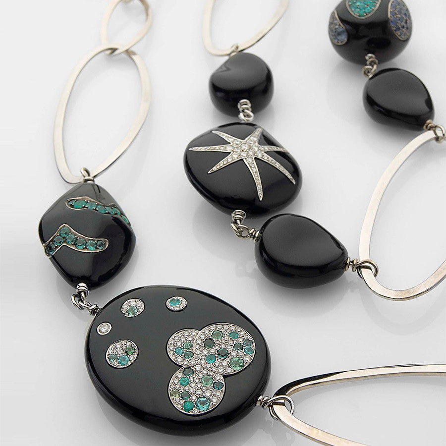 White Gold, Onyx & Diamond Necklace from the Cosmogony Collection