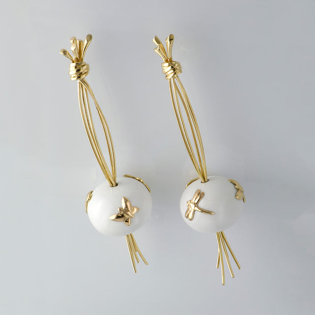 Natural History Collection Cacholong Earrings Futaie
