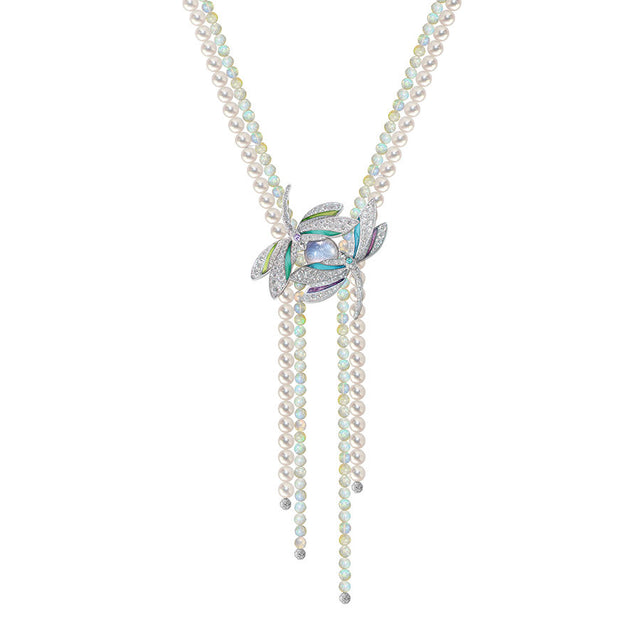 ÉPHÉMÈRE NECK & BROOCH WOLLO OPALS TOURMALINE DIAMOND, LUCKY ANIMALS COLLECTION #ALACARTEBRIDAL