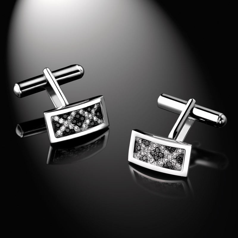 Men's Collection Unik Man CuffLinks 'Epicurian', White Gold