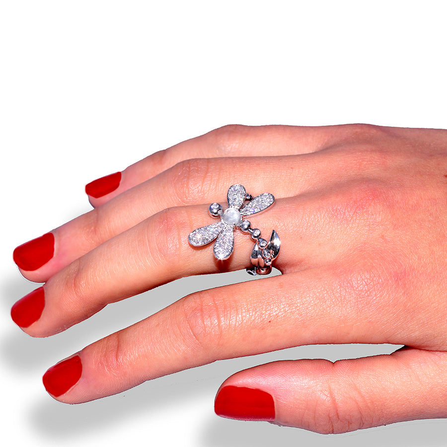 LIBELLULE RING WHITE GOLD DIAMOND AND MOONSTONE, LUCKY ANIMALS COLLECTION #ALACARTEBRIDAL