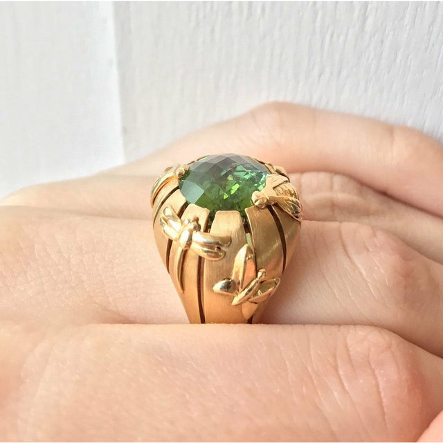 Natural History Collection Briolette Green Tourmaline Ring Rayon - GERARDRIVERON