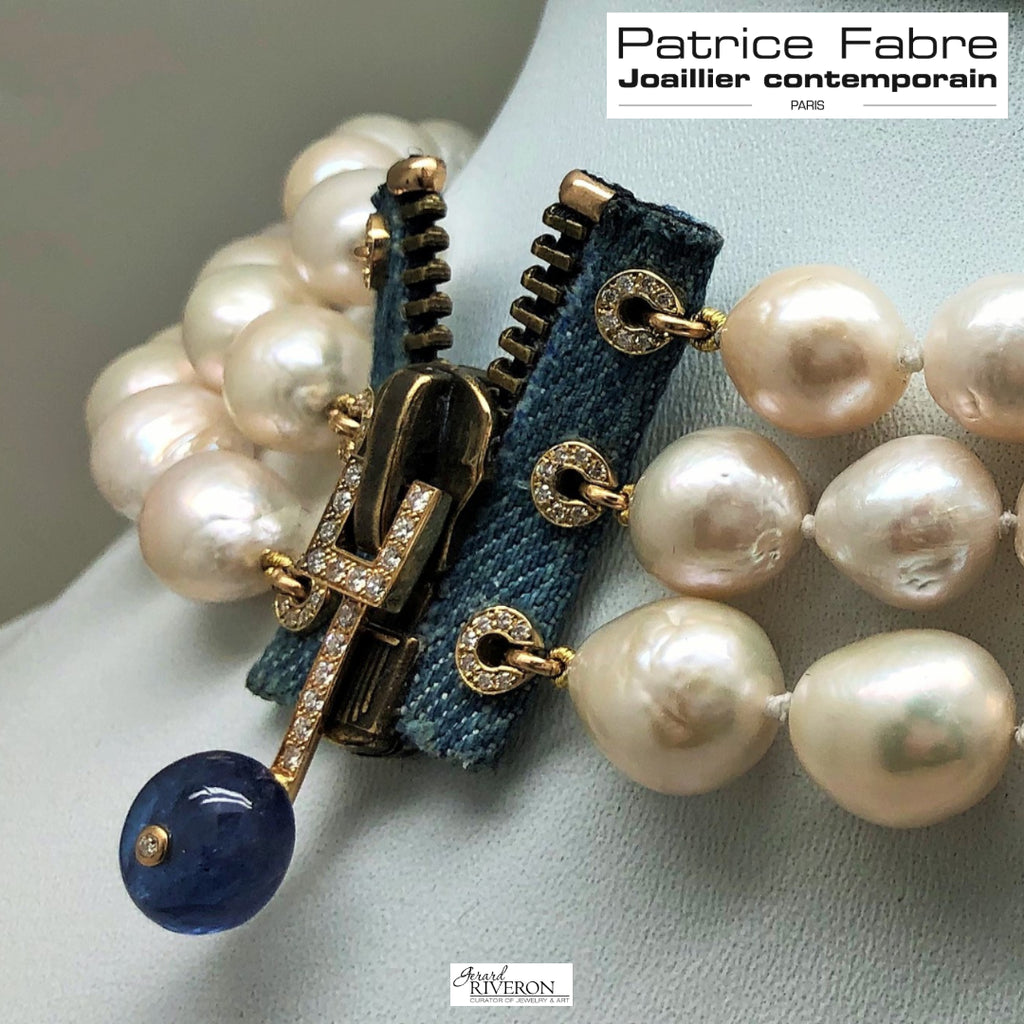 ZIP Collection Necklace White Pearls Tanzanite - GERARDRIVERON