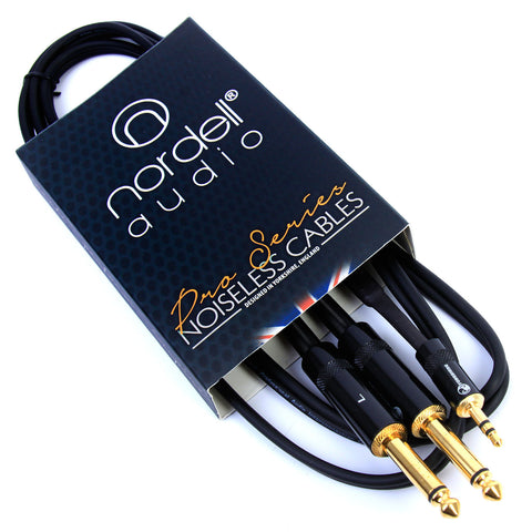 "Nordell Cable: 2 x 14"" Jack to 3.5mm Stereo Jack"