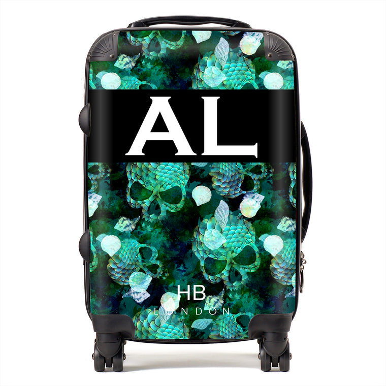 Personalised Green Mermaid Skull Initial Suitcase