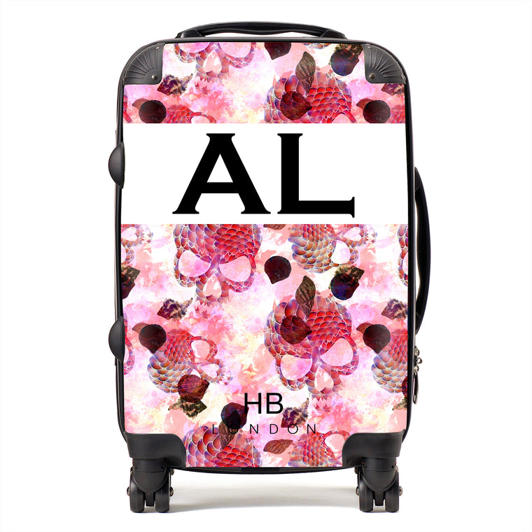 Personalised Pink Mermaid Skull Initial Suitcase