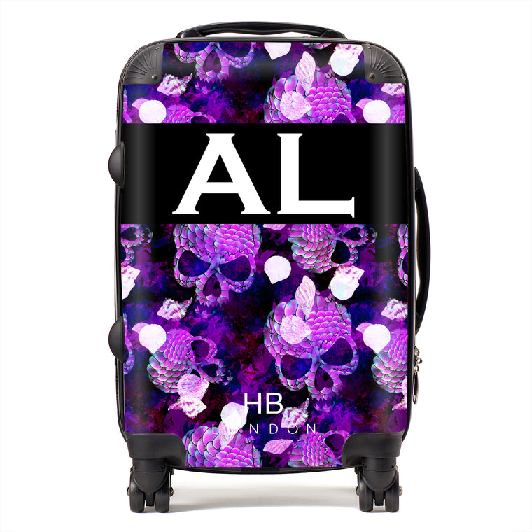 Personalised Purple Mermaid Skull Initial Suitcase