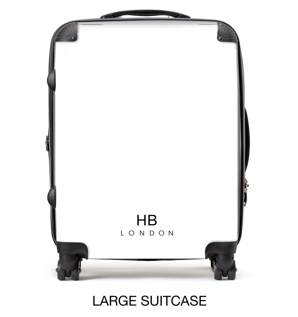 Personalised White Pride Stripe with Black Font Initial Suitcase