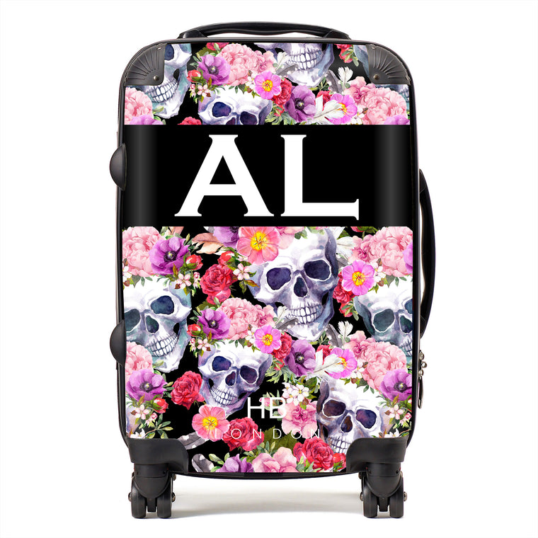 Personalised Floral Skull Initial Suitcase