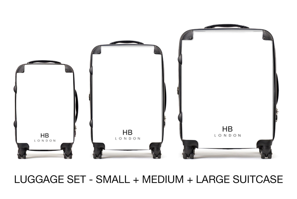 Personalised Rays of Sunset with White Font Initial Suitcase