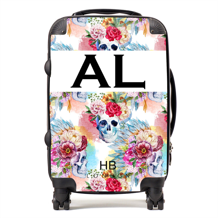 Personalised Skull and Feathers Initial Suitcase