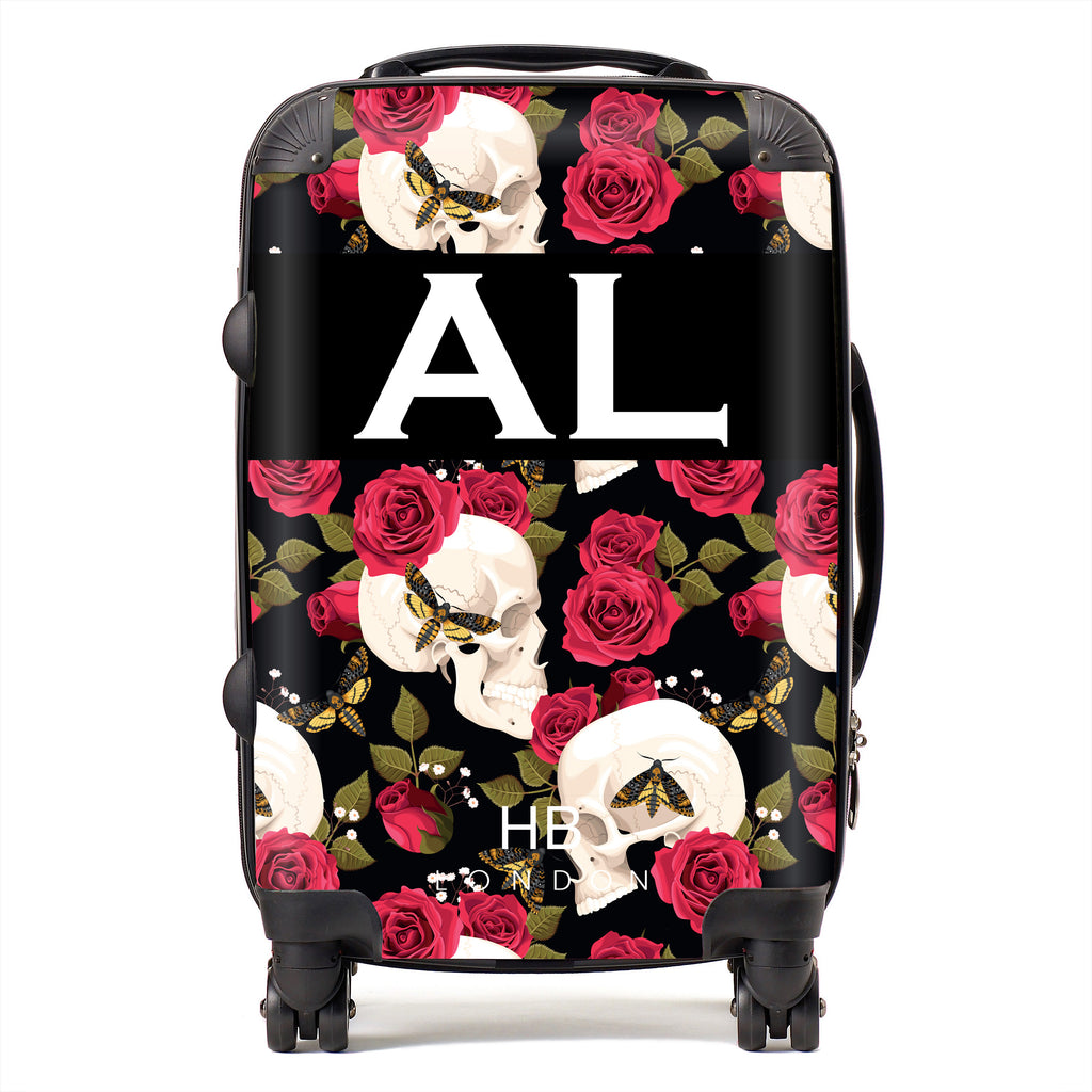 Personalised Skull and Roses Initial Suitcase