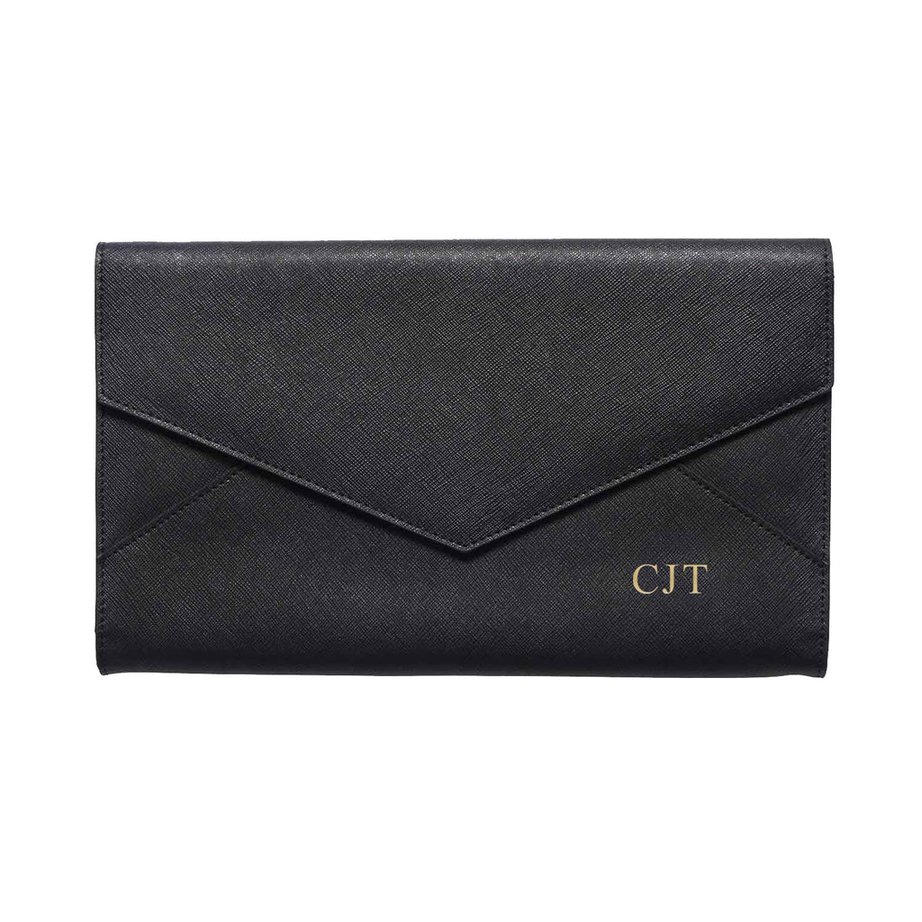 Black Saffiano Leather Envelope Bag