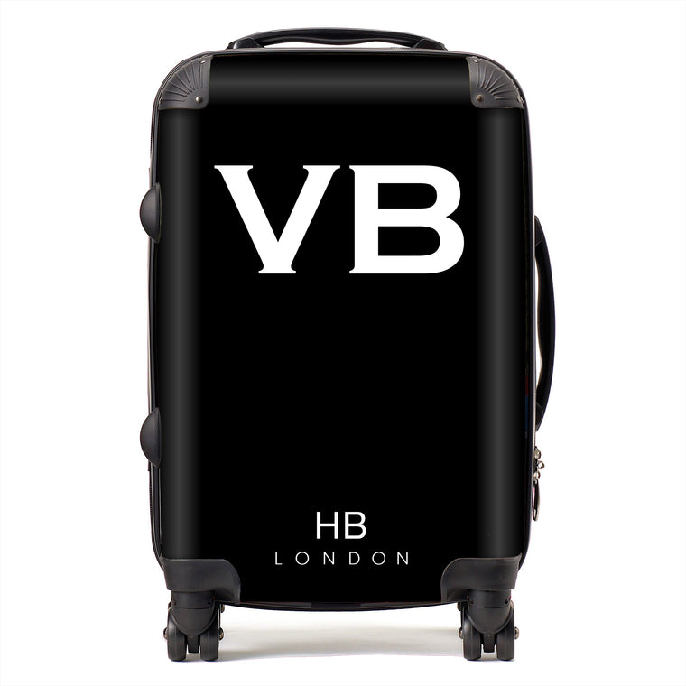 Personalised Black with White Font Initial Suitcase