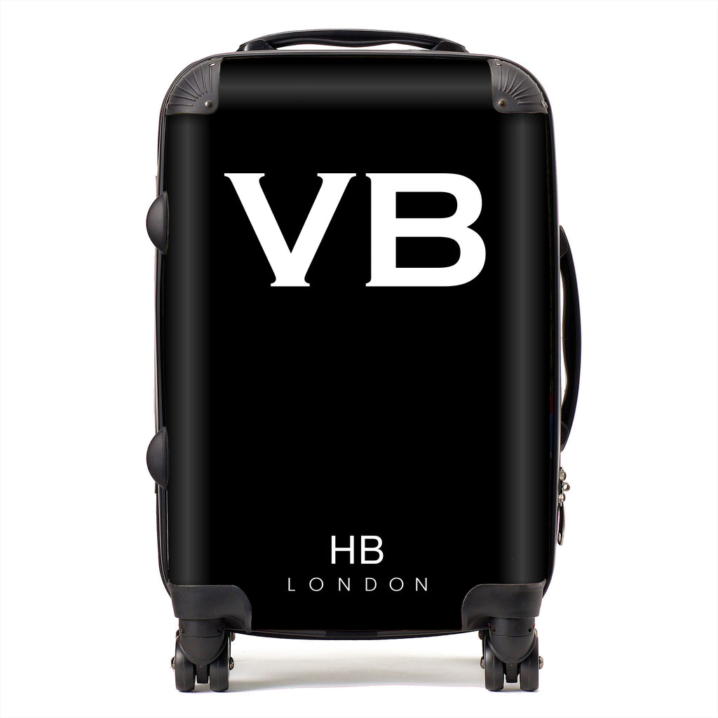 Personalised Spice Girl Black with White Font Initial Suitcase
