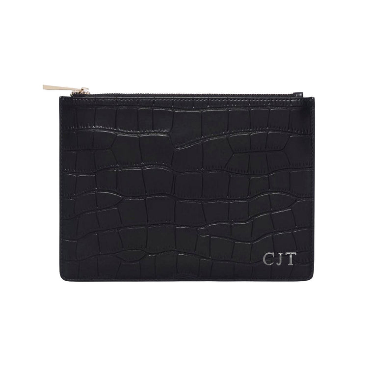 Black Mock Croc Print Leather Pouch Bag