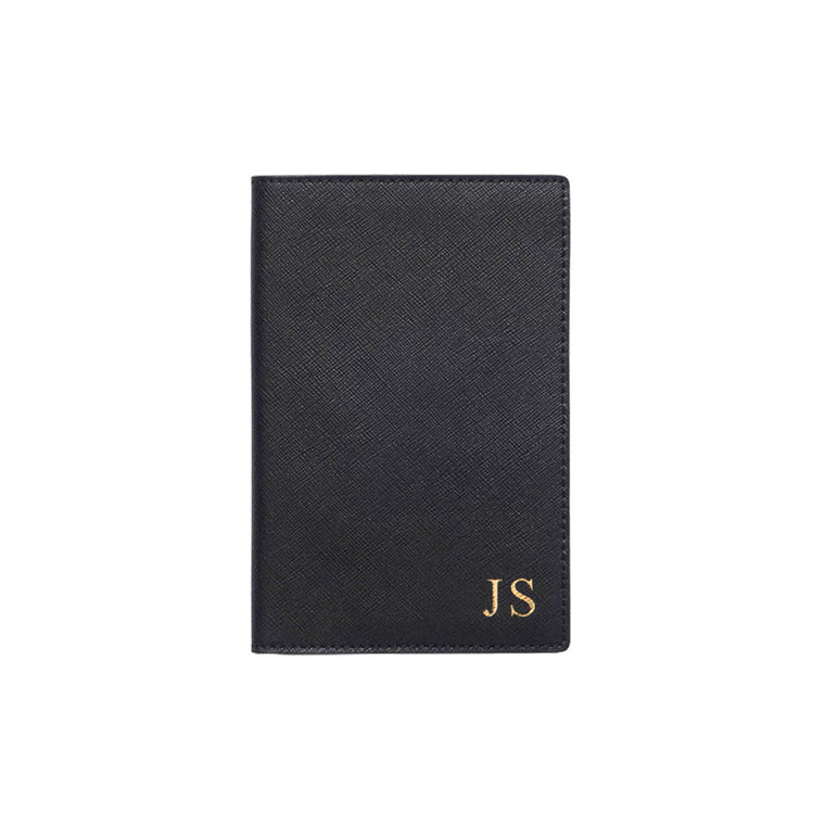 Black Saffiano Leather Passport Holder