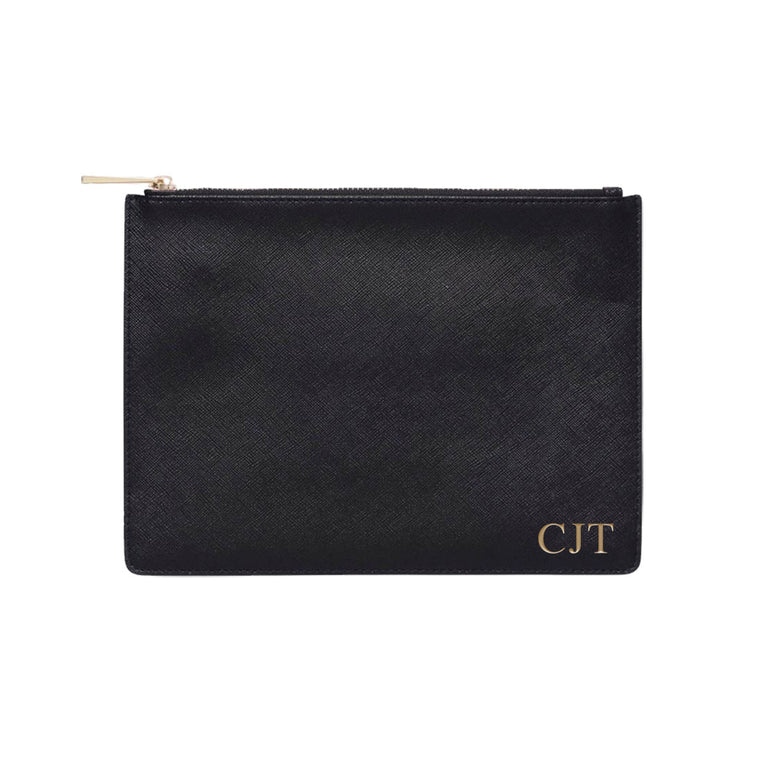 Black Saffiano Leather Clutch | Pouch Bag