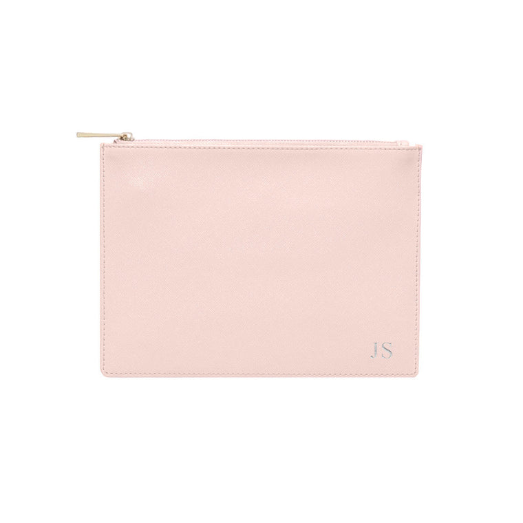 Blush Saffiano Leather Clutch | Pouch Bag