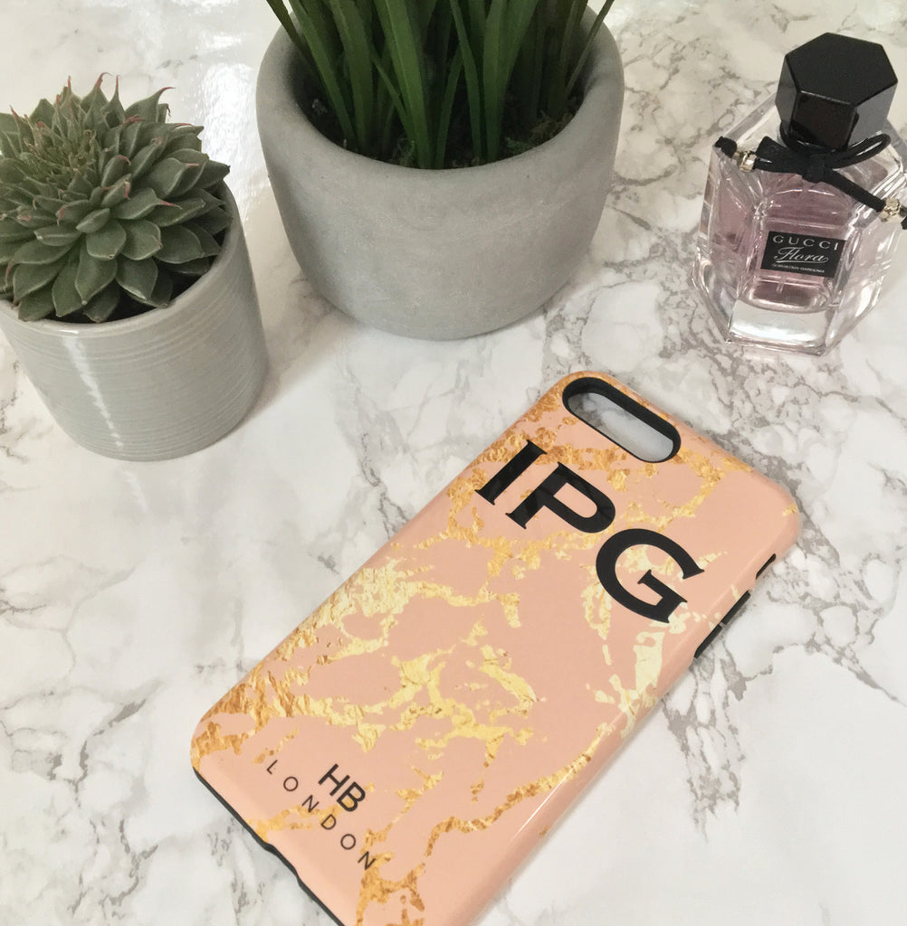 Personalised Blush and Gold Marble Initial Phone Case