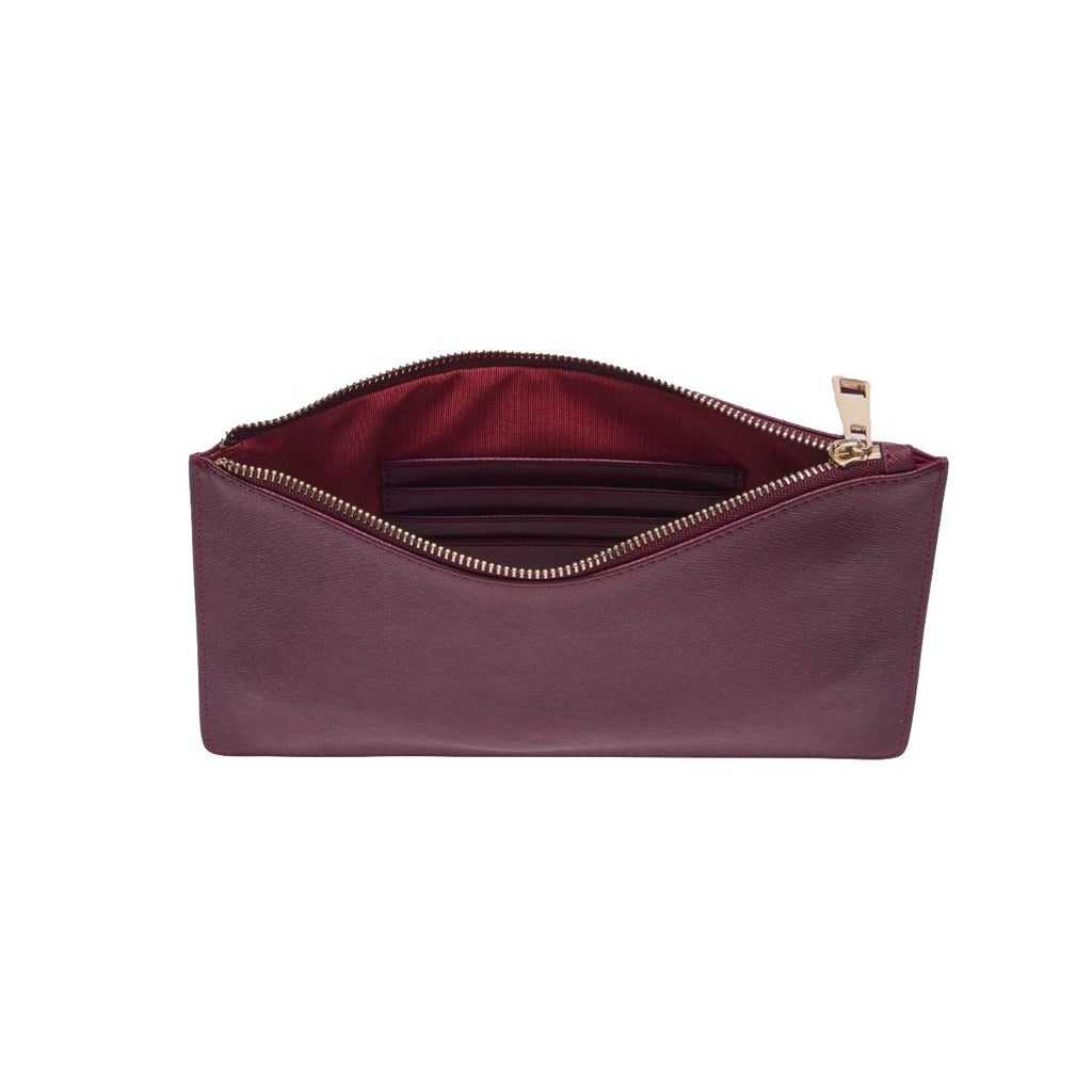 Burgundy Saffiano Leather Clutch | Pouch Bag