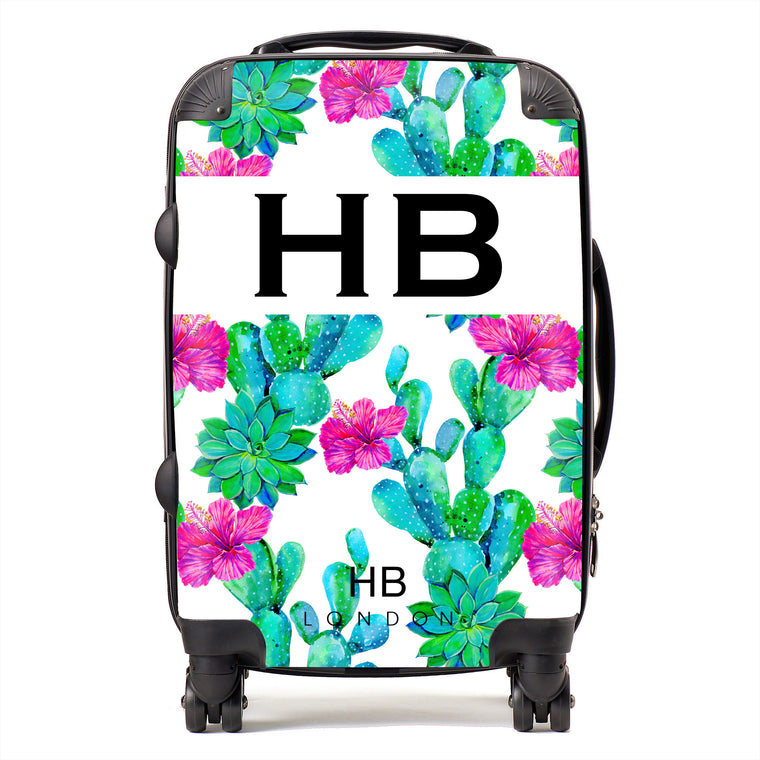 Personalised Cactus and Hibiscus Print Initial Suitcase