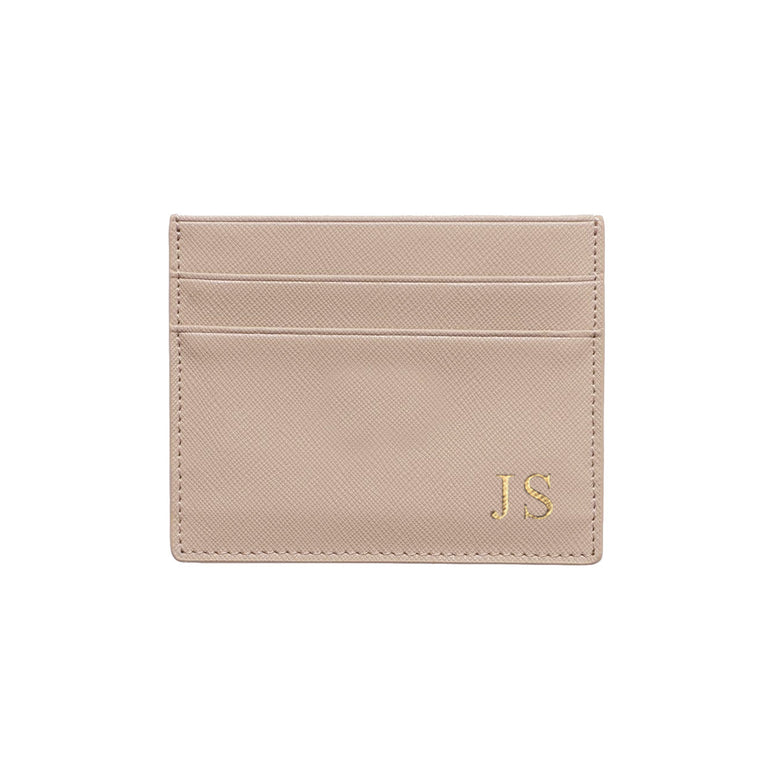 Nude Taupe Saffiano Leather Double Card Holder