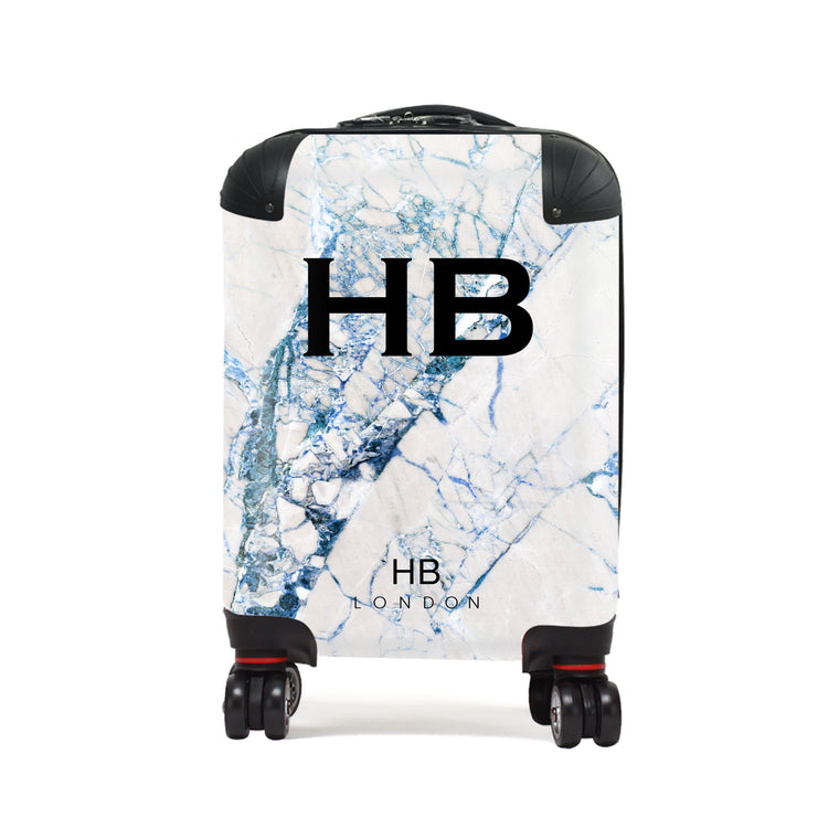 Personalised Blue Cracked Marble Children's Suitcase