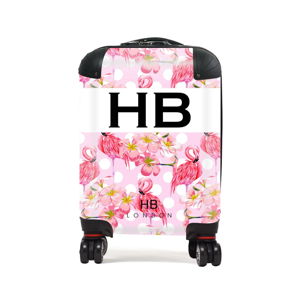 Personalised Polka Dot Flamingo Print Children's Suitcase